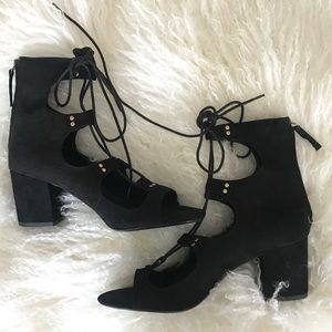 Zara Lace Up Heels Sandals, Size 39